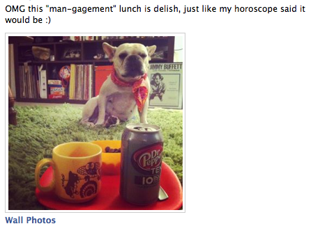 photo of a french bulldog wearing a scarf sitting near a dr pepper 10 cam. caption reads: OMG this