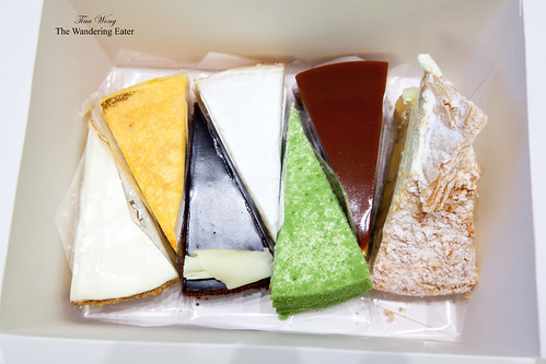 Box #1 - Cake slices of Gateau Nuage, Mille Crepe, Couronne du Chocolat, Marron Mille Crepe, Mirror Caramel, Banana Mille Feuille