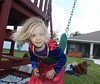IMG_9074 (drjeeeol) Tags: dog pet halloween goldenretriever costume backyard katie tiger superman charlie superhero cape supergirl fav triplets toddlers 2011 36monthsold