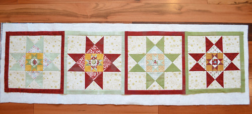 Christmas table runner, ready to quilt