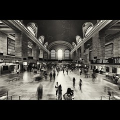 "Grand Central - ""Defished"" (tk21hx) Tags: nyc blackandwhite bw ny newyork station architecture terminal midtown railwaystation grandcentral defished sigma15mmf28exdgdiagonalfisheye canoneos5dmarkii silverefexpro grandcentralrailwaystation"