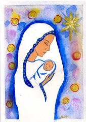 Madonna and Child - Original Watercolor (sixsisters) Tags: christmas blue snow rabbit art watercolor gold holidays child madonna violet vast sixsisters bbest