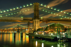 Brooklyn Bridge Pier (Moniza*) Tags: nyc newyorkcity night pier nikon brooklynbridge manhattanbridge d90 moniza