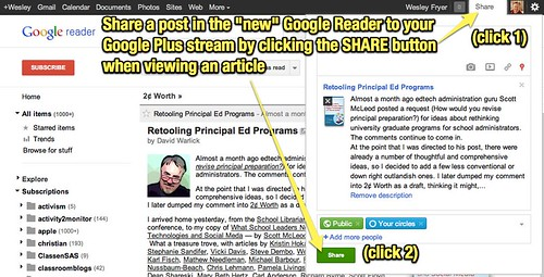 Sharing a Google Reader Article to Google Plus