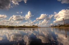 ,   (Or Hiltch) Tags: park morning reflection water clouds river israel telaviv sabbath yarkon readingpowerstation abeautifulday