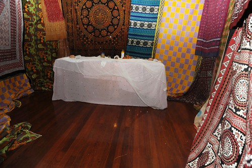 Fabric and altar installation at Rick Lowe's house