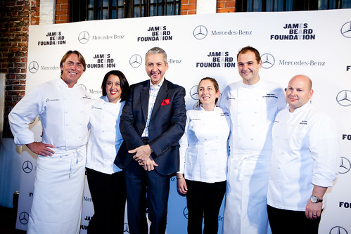 James Beard winners (left to right): John Besh, Julie Reiner, a senior executive of Mercedes-Benz, Karen DeMasco, Daniel Humm, Dan Kluger