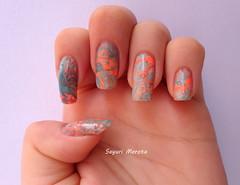 Marmorizada (Sayuri Morota) Tags: girl azul nail laranja nails hits unhas risque nailart unha capricho esmaltes esmalte colorama marmorizado marmorizada coloramahippiechic hitsferias