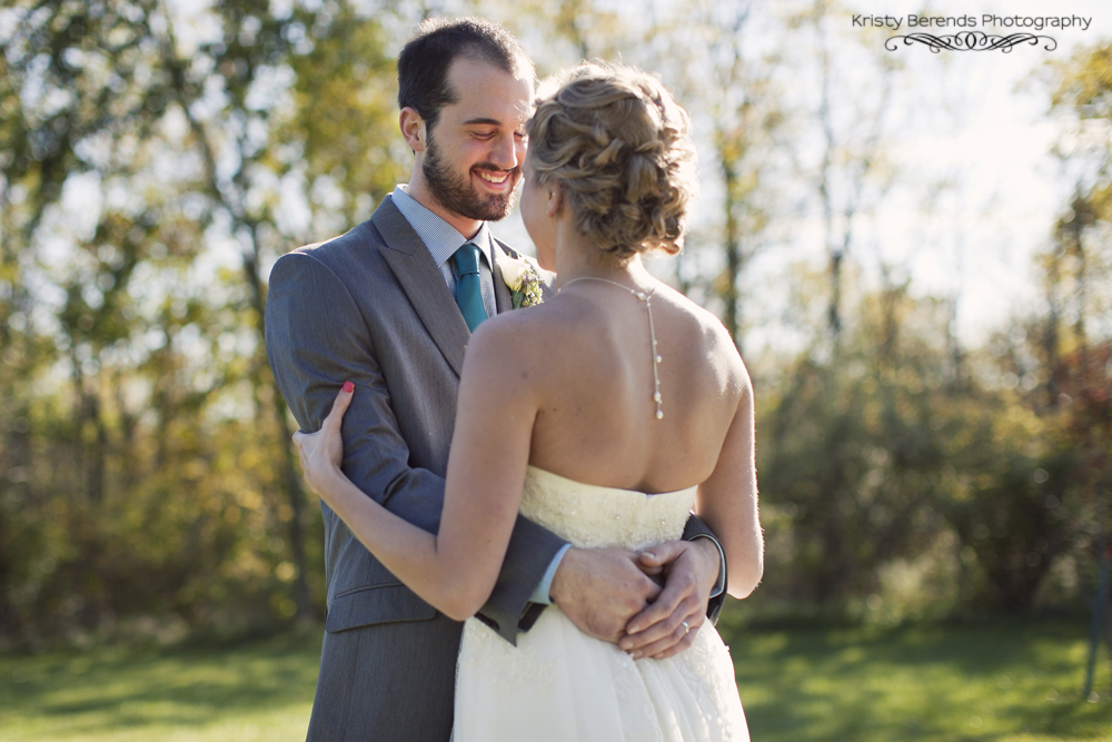 Groom looking at his new bride