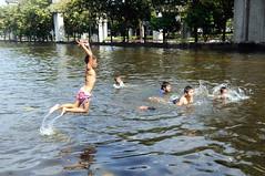 FLOODING BANGKOK 2011 (Claude  BARUTEL) Tags: playing public water rain kids thailand flooding bangkok transport monsoon suburbs trucks sickness humanitarian laksi catastroph