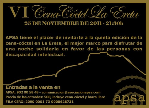 Cena Cóctel La Ereta 2011 a beneficio de APSA