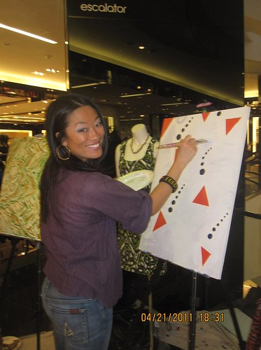 My 2nd ArtJamz painting for Becky's Fund at Bloomingdale's Chevy Chase, inspired by a navy & orange fish dress