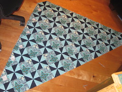 Finally! Piecing all those pinwheel blocks together!