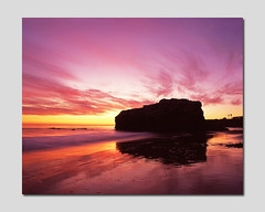 Natural Reflections (RZ68) Tags: california pink sunset santacruz sun seascape color reflection film beach wet rock set clouds mediumformat reflections gold sand natural bridges velvia provia naturalbridges naturalbridgesstatebeach e100 rz68