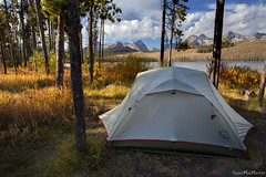 Camp on Little Redfish Lake (Dylan MacMaster) Tags: camp tent idaho stanley sawtoothmountains bigagnes littleredfishlake