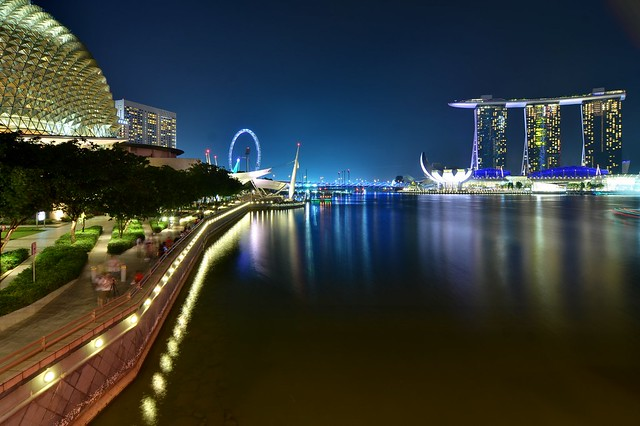 Esplanade, Singapore Flyer, and Marina Bay Sands at night. Taken from Esplanade bridge