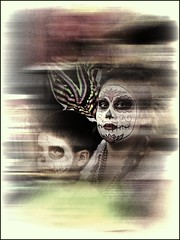 (shadowplay) Tags: motion dayofthedead mask diadelosmuertos hollywoodforevercemetery calaveras topazadjust