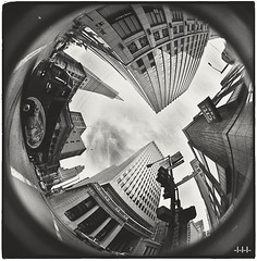 SF inception (steven -l-l-l- monteau) Tags: sf sanfrancisco road trip blackandwhite bw usa signs trafficlights bus cars film analog 35mm buildings downtown skyscrapers pyramid noiretblanc kodak trix nb junction fisheye 400 transamerica crossroad expired 8mm montgomerystreet ricoh tls xing argentique peleng sacramentostreet outofdate 15years singlex 15ans expirée périmée twoandahalfweeksonthewestcoastoftheunitedstatesofamerica