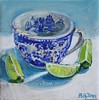 blue willow commission painting (PollyPainting) Tags: blue white cup bright text bluewillow teacup limes artpaintingmixedmediacolorfulvibrantcheerfulstilllifepollyjonesetsy