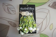 Blackball Bling, Green n Pearly White Buttons, Beads, Twisted Wire (BlackballBling) Tags: original abstract necklace beads artist handmade brooch earrings etsy buynow blackballbling currantlyoddfellows