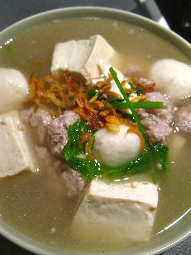 Tofu/Fishball/Minced Pork Soup with Chinese Celery Singlish Swenglish
