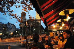 October in Paris (sendroiu) Tags: street autumn paris fall night lights cafe october cathedral terrace bistro saintvincentdepaul