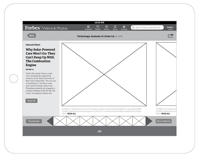 Wireframes: Forbes Photos & Videos iPad App designed and developed by Gesture Theory