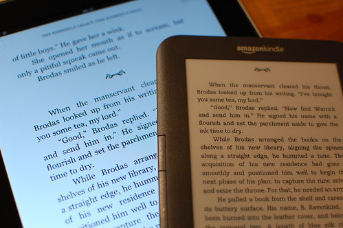 iPad vs Kindle Keyboard, closeup