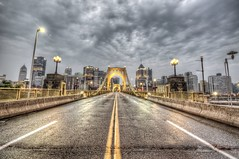 Roberto Clemente Bridge in the morning (Dave DiCello) Tags: beautiful skyline photoshop nikon pittsburgh tripod christmastree northshore bluehour nikkor hdr highdynamicrange pncpark pittsburghpirates cs4 steelcity photomatix beautifulcities yinzer cityofbridges tonemapped theburgh pittsburgher colorefex cs5 beautifulskyline d700 thecityofbridges pittsburghphotography davedicello pittsburghcityofbridges steelscapes beautifulcitiesatnight hdrexposed picturesofpittsburgh cityofbridgesphotography