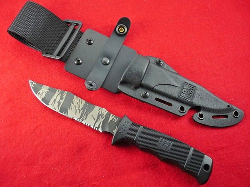 "SOG SEAL Pup Elite 4.85"" TigerStripe Black TiNi Combo Edge Blade with Kydex Sheath"