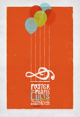 "Foster the People at The Fillmore ""Light Sounds"" (withayou) Tags: illustration balloons poster design graphicdesign screenprint silkscreen rockposter reptar billgraham thefillmore gigposter musicnotes cults fosterthepeople"