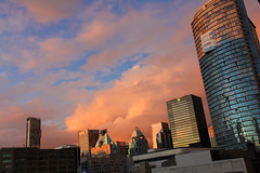 Intense Vancouver Sunset with Clouds (Petitecornichon) Tags: ocean street sunset sea architecture vancouver clouds buildings square downtown bc britishcolumbia columbia robson british seymour fairmont westgeorgia rbc vancouverhotel