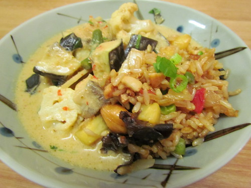 Red Curry with Vegetables; Pineapple Fried Rice