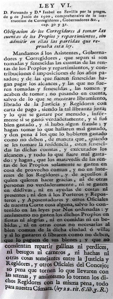 La Ley VI, en su publicación de 1805.