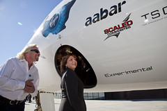 Governor Susana Martinez and Sir Richard Branson with SpaceShipTwo. Photo by Mark Greenberg