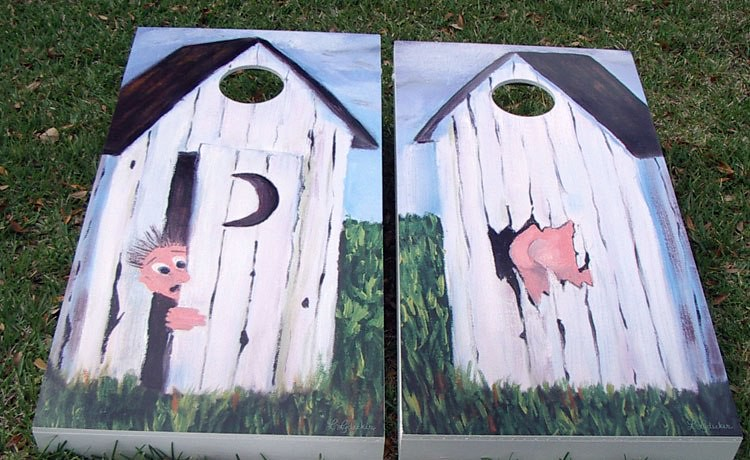 outhouse surprise cornhole boards - Cornhole Sets