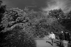 A Day in the Sun (Finite Improbability) Tags: park street newyorkcity shadow sky blackandwhite bw monochrome clouds nikon centralpark candid streetphotography infrared danbraun d5100