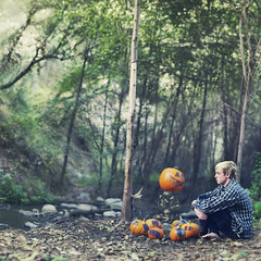Problematic pumpkin patches. (David Talley) Tags: autumn fall forest vintage pumpkin jack woods o jackolantern pumpkins floating levitation indie flannel lantern pumpkinpatch patch float patches levitate