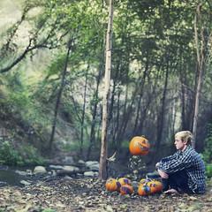 Problematic pumpkin patches. (David Talley) Tags: autumn fall forest vintage pumpkin jack woods o jackolantern pumpkins floating levitation indie flannel lantern pumpkinpatch patch float patches levitate
