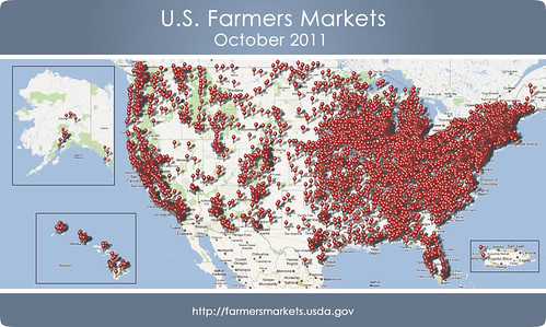 A map plotting the updated locations of U.S. Farmers Markets.  Geocode data is now available for over 6,200 markets.