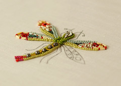 Dragonfly Bead Embroidery in Progress (Elsita (Elsa Mora)) Tags: red green glass bug insect colorful dragonfly handmade embroidery workinprogress libelula embroidered beaded detailed glassbeads seedbeads elsita elsamora