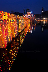 Lights and reflections (yadavop) Tags: nepal water night reflections lights pond nikon photos festivals culture kathmandu ops opsphotos chhath d7000
