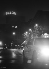Call (Corey Templeton) Tags: city autumn urban fall sign night dark portland blackwhite nikon october call downtown message taxi ad maine headlight centerstreet noire 2011 d90