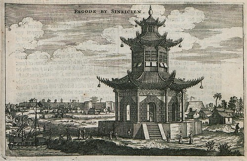 engraving of 3-level pagoda; adjacent to sailing ship on moat