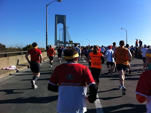 Verrazano bridge right after start of New York Marathon