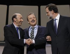 Rubalcaba, Campo Vidal y Rajoy en el debate