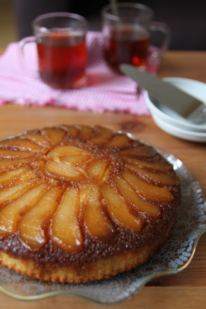 ... Pear (Upside Down) Cake – A Guest Post by Nisha @ Look Who's Cooking