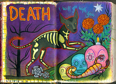 Death (Tarot of Dogs) (pageofbats) Tags: dog dayofthedead death skull tarot alteredbook artbook xoloitzcuintle xolo dogtarot
