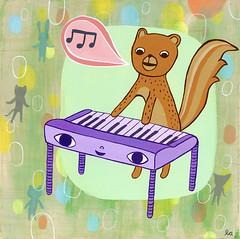 squirrel keyboarder - free printable (lizin8or) Tags: music liz cute art animals illustration print squirrel keyboard adams piano whimsical printable
