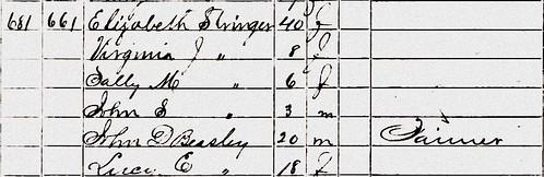 Elizabeth Pitt 1860 US Census